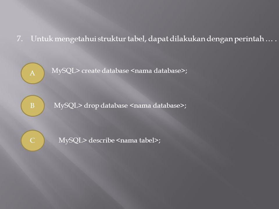 7.Untuk mengetahui struktur tabel, dapat dilakukan dengan perintah …. A B C MySQL> create database ; MySQL> drop database ; MySQL> describe ;