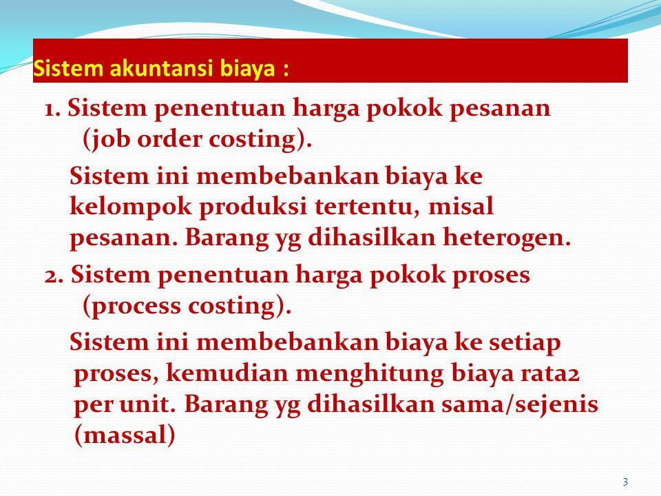 Sistem akuntansi biaya : 1.Sistem penentuan harga pokok pesanan (job order costing).
