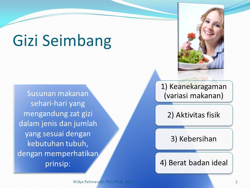 Gizi Seimbang 1) Keanekaragaman (variasi makanan) 2) Aktivitas fisik3) Kebersihan4) Berat badan ideal Susunan makanan sehari-hari yang mengandung zat