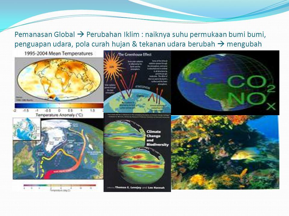 Pemanasan Global  Perubahan Iklim : naiknya suhu permukaan bumi bumi, penguapan udara, pola curah hujan & tekanan udara berubah  mengubah pola iklim