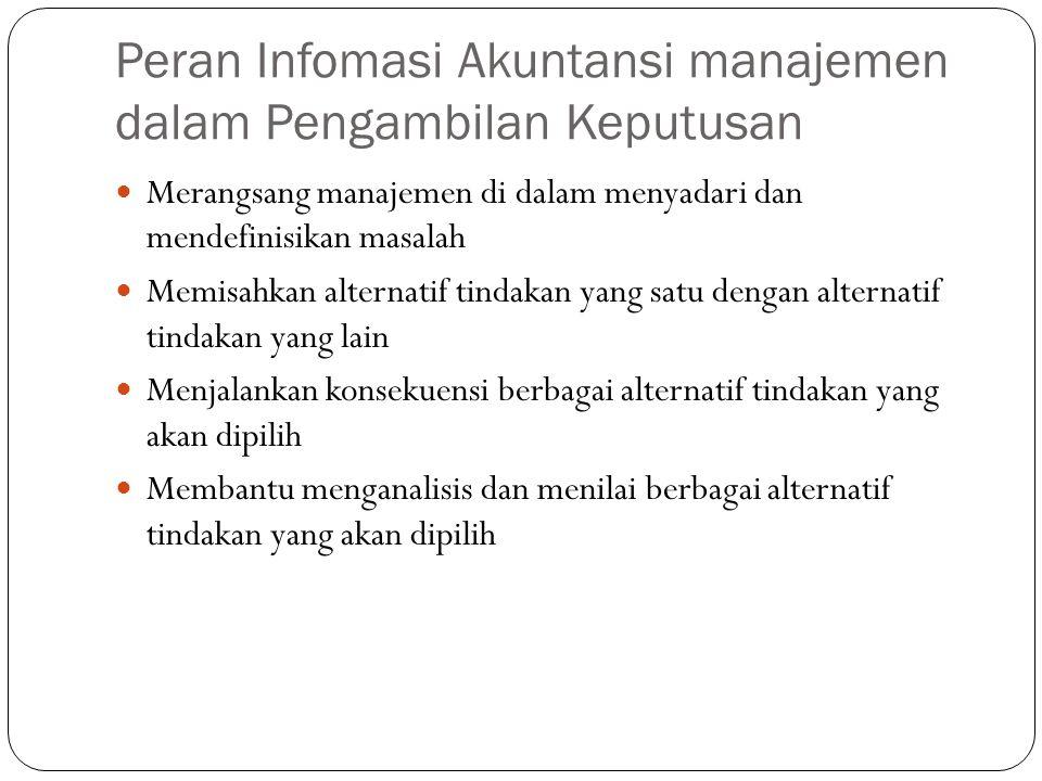 Peran Infomasi Akuntansi manajemen dalam Pengambilan Keputusan  Merangsang manajemen di dalam menyadari dan mendefinisikan masalah  Memisahkan alter