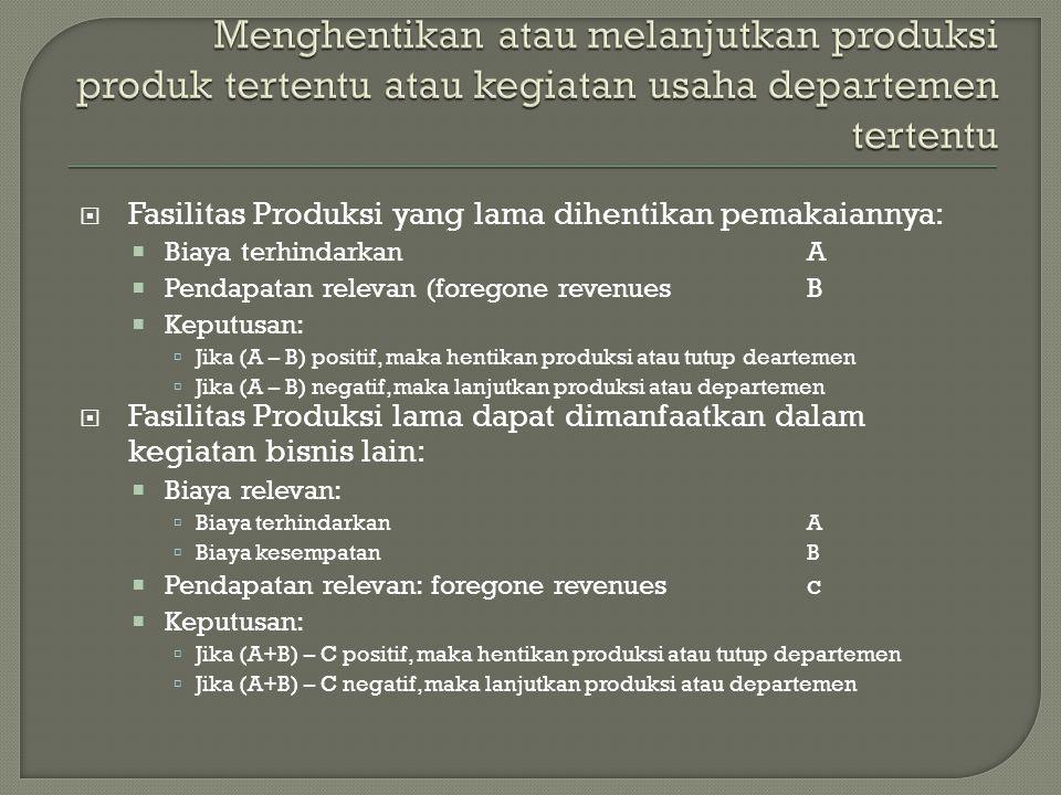  Fasilitas Produksi yang lama dihentikan pemakaiannya:  Biaya terhindarkanA  Pendapatan relevan (foregone revenuesB  Keputusan:  Jika (A – B) pos