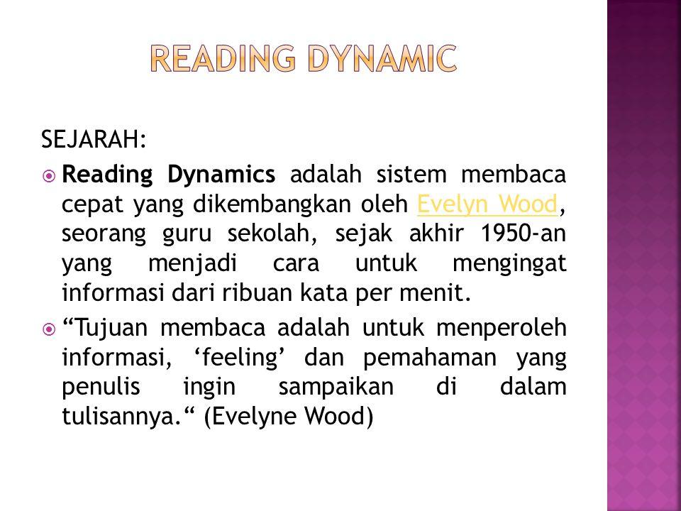 SEJARAH:  Reading Dynamics adalah sistem membaca cepat yang dikembangkan oleh Evelyn Wood, seorang guru sekolah, sejak akhir 1950-an yang menjadi car