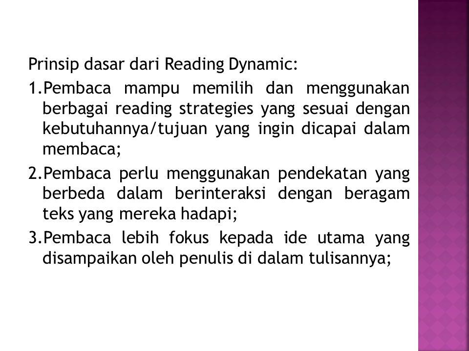 Prinsip dasar dari Reading Dynamic: 1.Pembaca mampu memilih dan menggunakan berbagai reading strategies yang sesuai dengan kebutuhannya/tujuan yang in