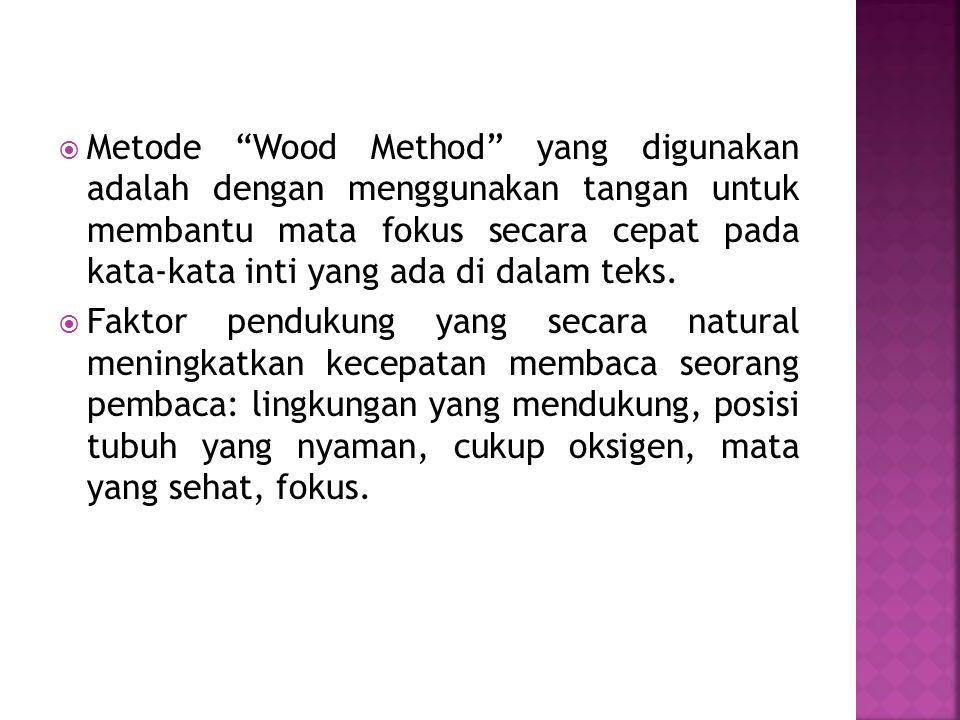 """ Metode """"Wood Method"""" yang digunakan adalah dengan menggunakan tangan untuk membantu mata fokus secara cepat pada kata-kata inti yang ada di dalam te"""