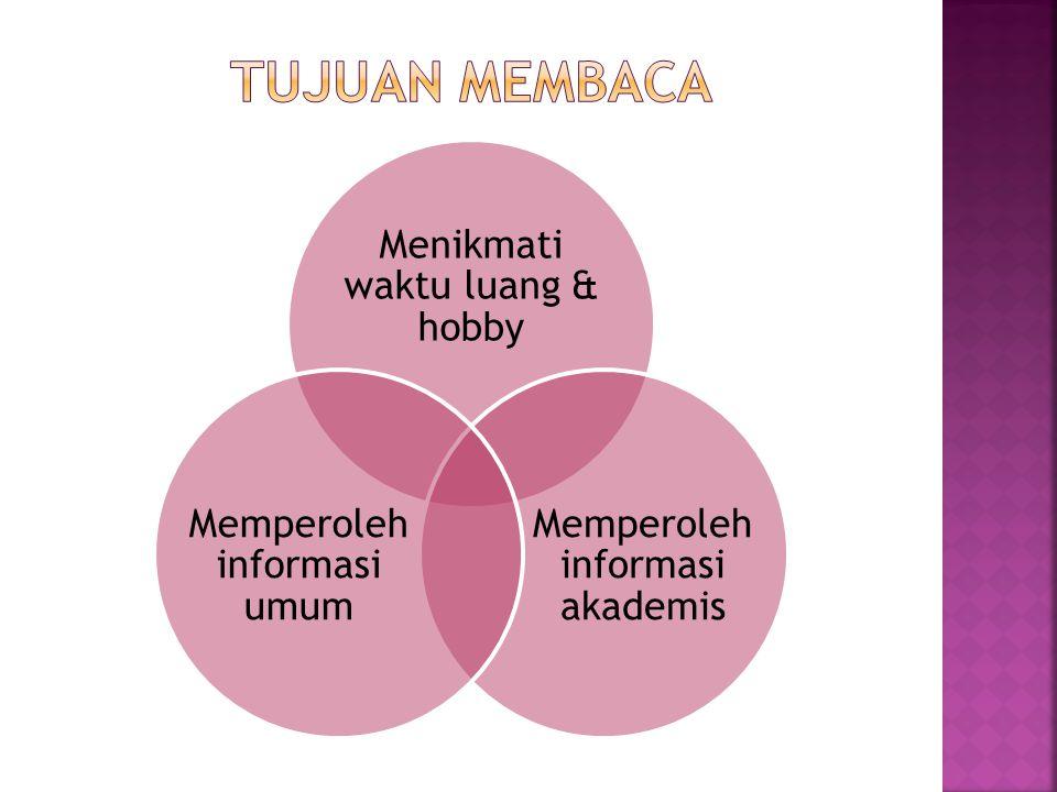 Menikmati waktu luang & hobby Memperoleh informasi akademis Memperoleh informasi umum