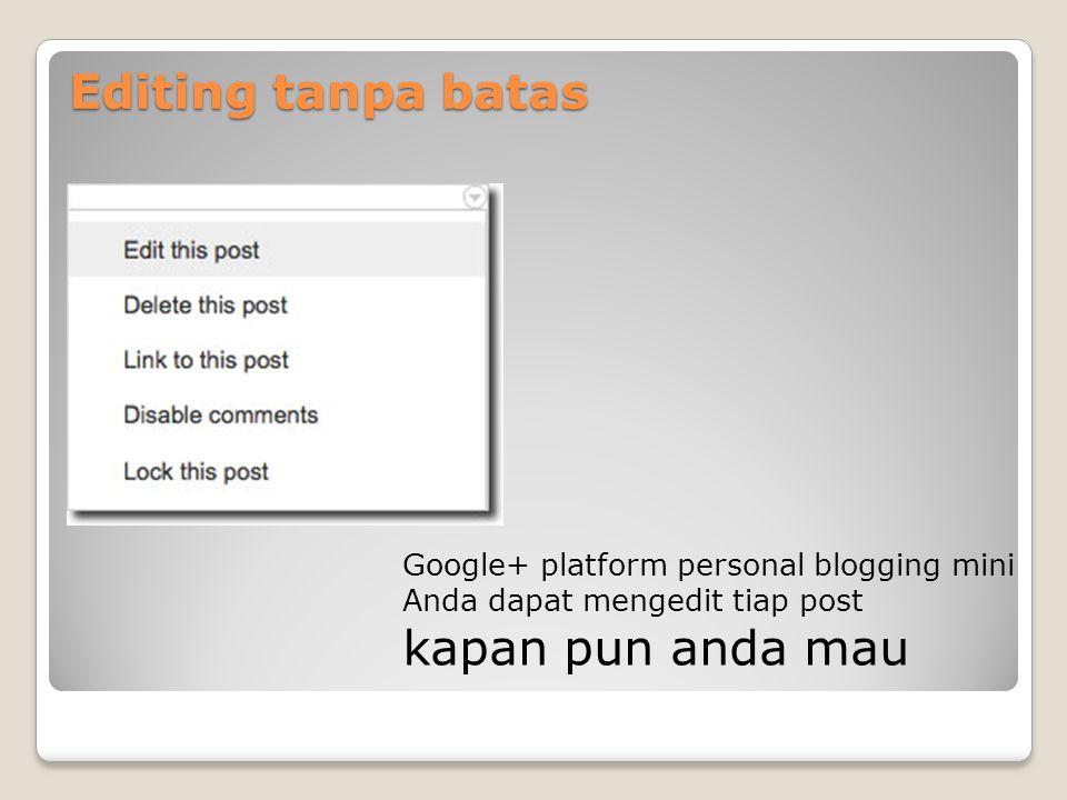 Editing tanpa batas Google+ platform personal blogging mini Anda dapat mengedit tiap post kapan pun anda mau