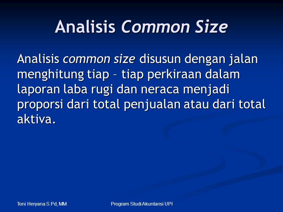 Toni Heryana S.Pd, MM Program Studi Akuntansi UPI Analisis Common Size Analisis common size disusun dengan jalan menghitung tiap – tiap perkiraan dala