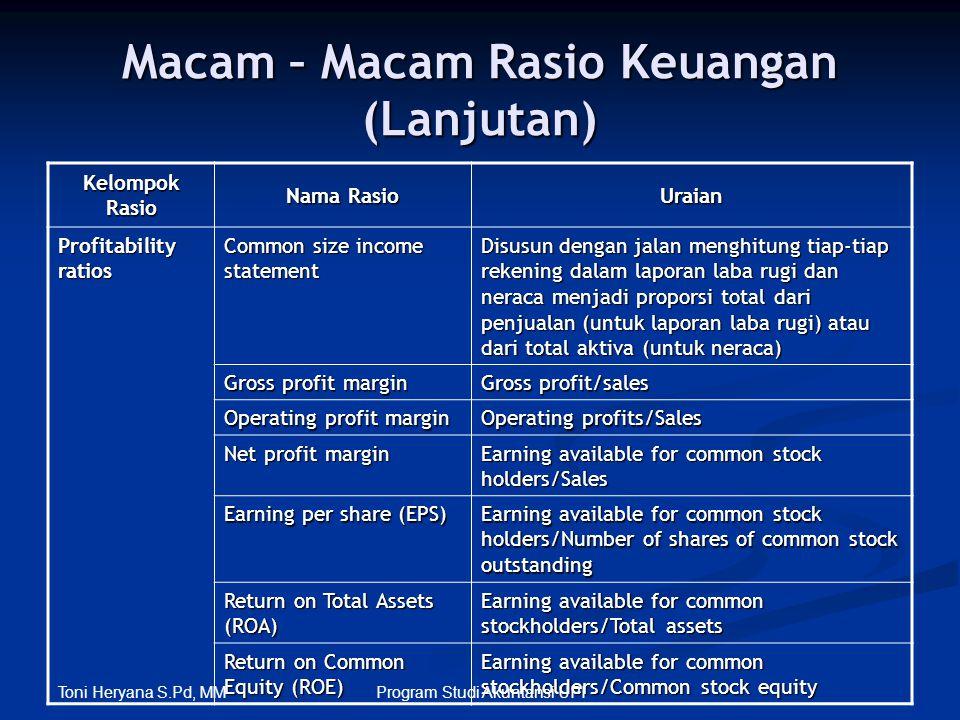 Macam – Macam Rasio Keuangan (Lanjutan) Kelompok Rasio Nama Rasio Uraian Profitability ratios Common size income statement Disusun dengan jalan menghi