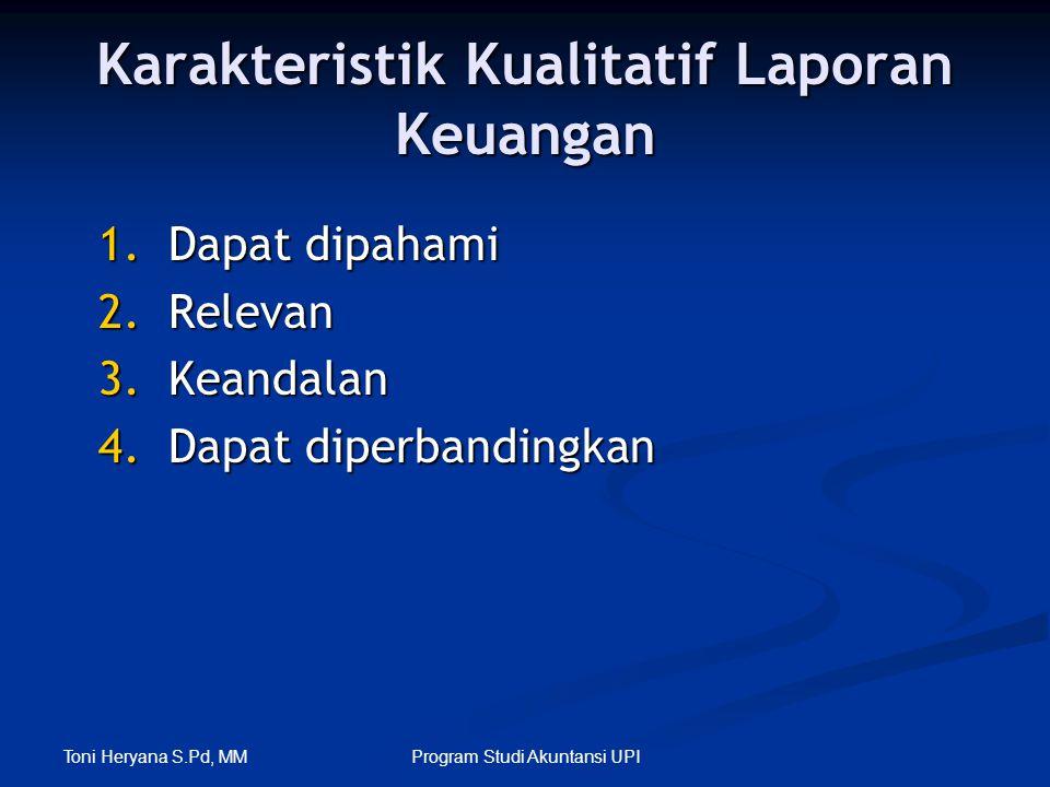 Toni Heryana S.Pd, MM Program Studi Akuntansi UPI Karakteristik Kualitatif Laporan Keuangan 1.Dapat dipahami 2.Relevan 3.Keandalan 4.Dapat diperbandin