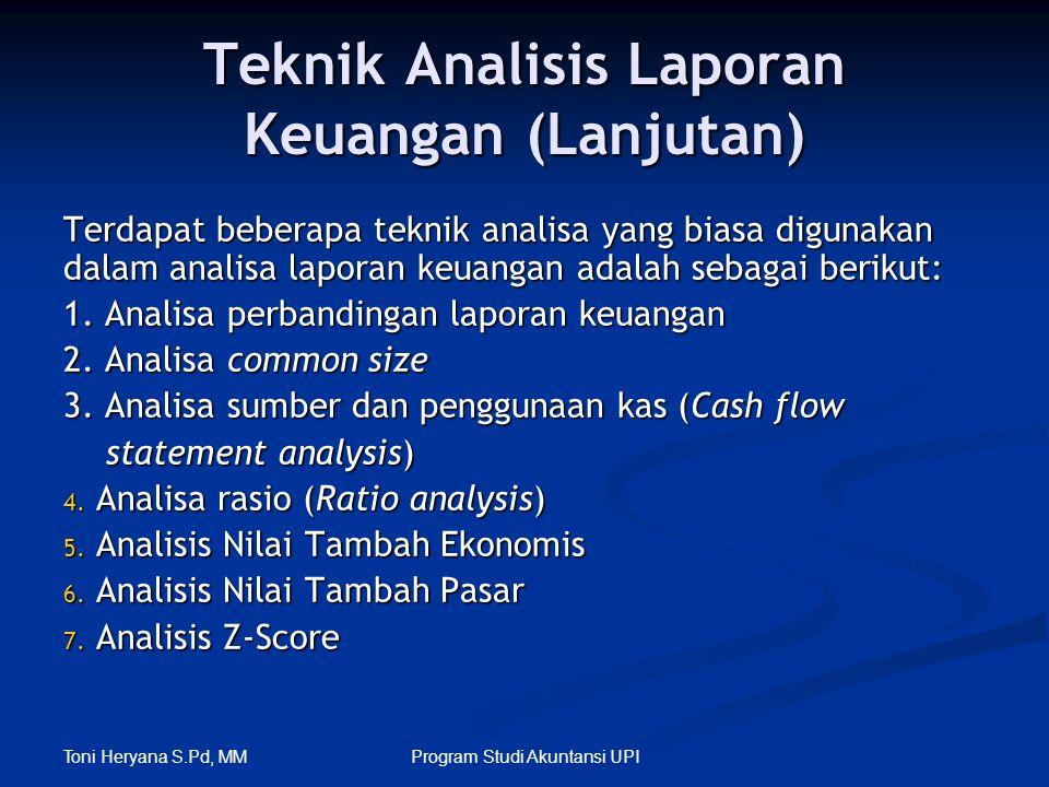 Toni Heryana S.Pd, MM Program Studi Akuntansi UPI Teknik Analisis Laporan Keuangan (Lanjutan) Terdapat beberapa teknik analisa yang biasa digunakan da
