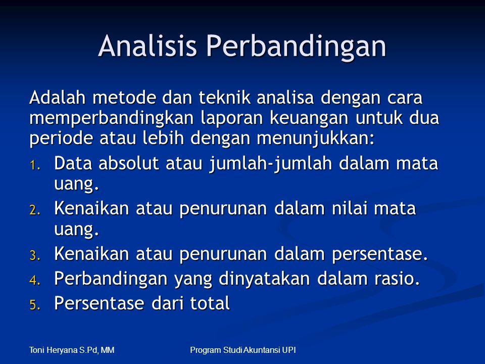 Toni Heryana S.Pd, MM Program Studi Akuntansi UPI Analisis Perbandingan Adalah metode dan teknik analisa dengan cara memperbandingkan laporan keuangan