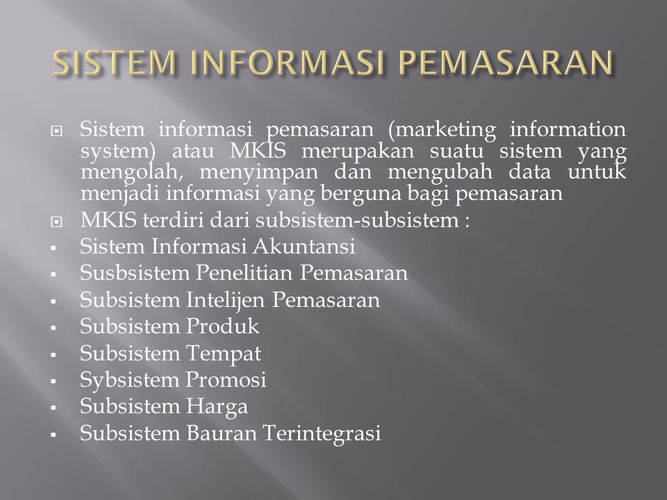  Sistem informasi pemasaran (marketing information system) atau MKIS merupakan suatu sistem yang mengolah, menyimpan dan mengubah data untuk menjadi