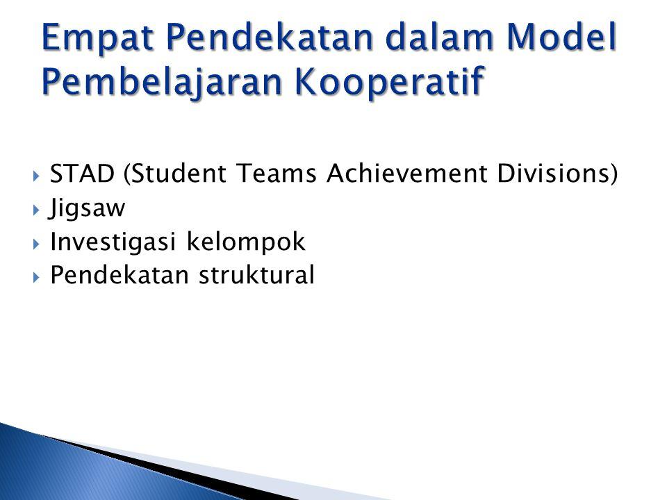  STAD ( Student Teams Achievement Divisions )  Jigsaw  Investigasi kelompok  Pendekatan struktural