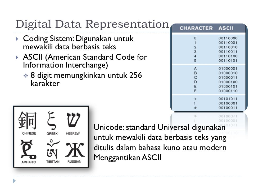 Digital Data Representation  Coding Sistem: Digunakan untuk mewakili data berbasis teks  ASCII (American Standard Code for Information Interchange)