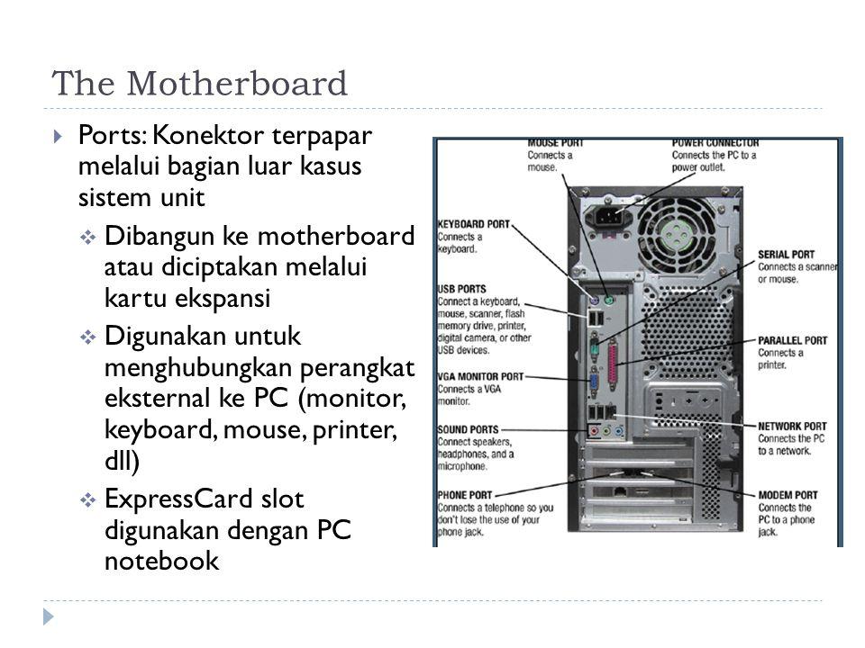 The Motherboard  Ports: Konektor terpapar melalui bagian luar kasus sistem unit  Dibangun ke motherboard atau diciptakan melalui kartu ekspansi  Digunakan untuk menghubungkan perangkat eksternal ke PC (monitor, keyboard, mouse, printer, dll)  ExpressCard slot digunakan dengan PC notebook