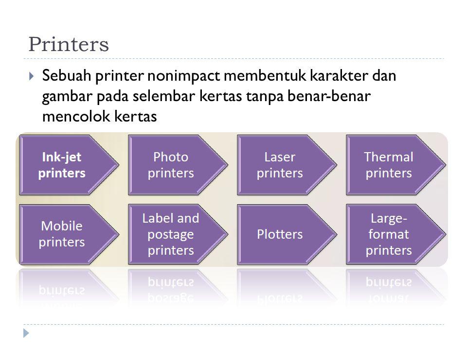  Sebuah printer nonimpact membentuk karakter dan gambar pada selembar kertas tanpa benar-benar mencolok kertas