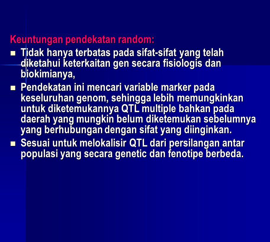 Keuntungan pendekatan random:  Tidak hanya terbatas pada sifat-sifat yang telah diketahui keterkaitan gen secara fisiologis dan biokimianya,  Pendek