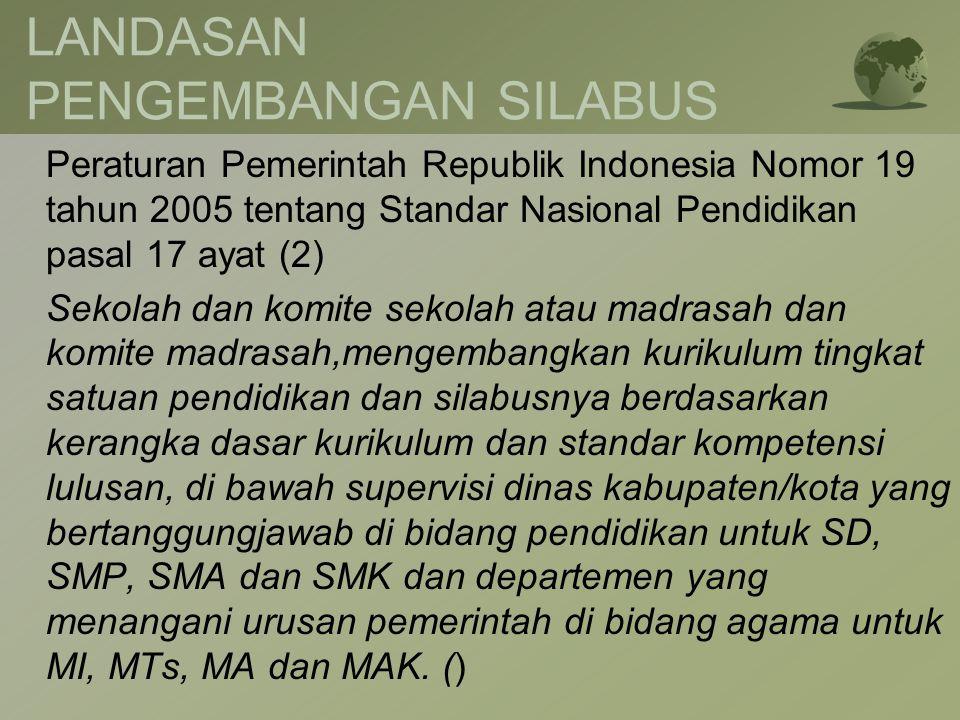 LANDASAN PENGEMBANGAN SILABUS Peraturan Pemerintah Republik Indonesia Nomor 19 tahun 2005 tentang Standar Nasional Pendidikan pasal 17 ayat (2) Sekola