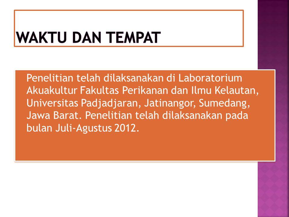 Penelitian telah dilaksanakan di Laboratorium Akuakultur Fakultas Perikanan dan Ilmu Kelautan, Universitas Padjadjaran, Jatinangor, Sumedang, Jawa Bar