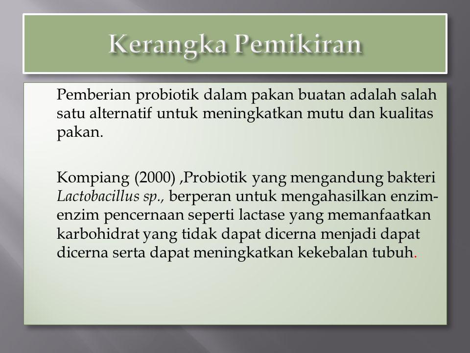 Pemberian probiotik dalam pakan buatan adalah salah satu alternatif untuk meningkatkan mutu dan kualitas pakan. Kompiang (2000),Probiotik yang mengand
