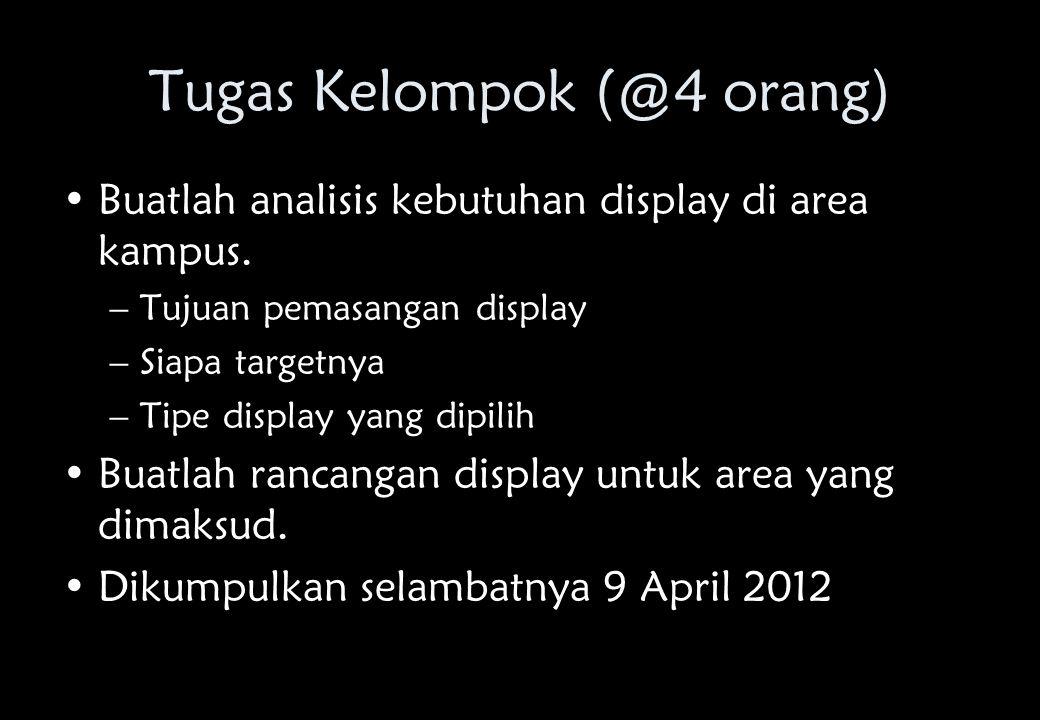 Tugas Kelompok (@4 orang) •Buatlah analisis kebutuhan display di area kampus.