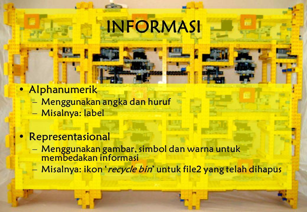 INFORMASI •Alphanumerik –Menggunakan angka dan huruf –Misalnya: label •Representasional –Menggunakan gambar, simbol dan warna untuk membedakan informasi –Misalnya: ikon 'recycle bin' untuk file2 yang telah dihapus