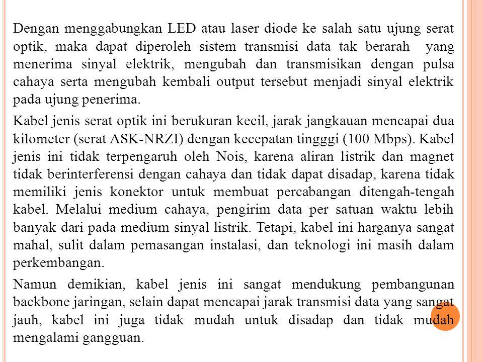 Dengan menggabungkan LED atau laser diode ke salah satu ujung serat optik, maka dapat diperoleh sistem transmisi data tak berarah yang menerima sinyal