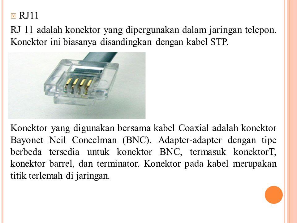  RJ11 RJ 11 adalah konektor yang dipergunakan dalam jaringan telepon. Konektor ini biasanya disandingkan dengan kabel STP. Konektor yang digunakan be
