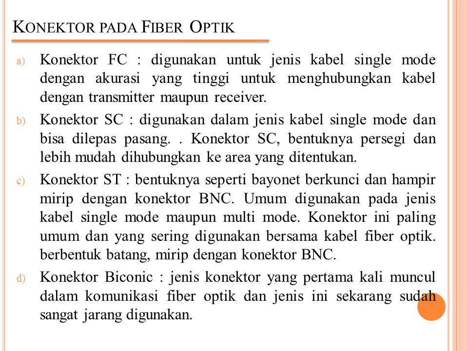 K ONEKTOR PADA F IBER O PTIK a) Konektor FC : digunakan untuk jenis kabel single mode dengan akurasi yang tinggi untuk menghubungkan kabel dengan tran