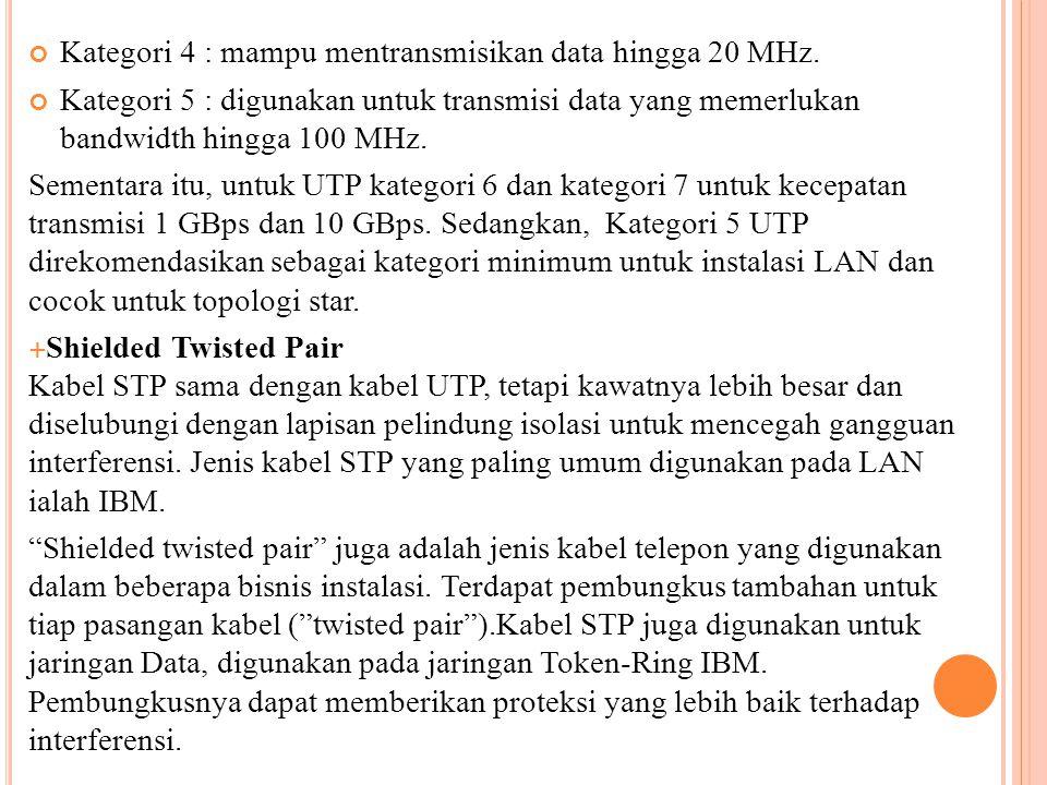 Kategori 4 : mampu mentransmisikan data hingga 20 MHz. Kategori 5 : digunakan untuk transmisi data yang memerlukan bandwidth hingga 100 MHz. Sementara