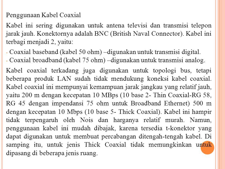 Penggunaan Kabel Coaxial Kabel ini sering digunakan untuk antena televisi dan transmisi telepon jarak jauh. Konektornya adalah BNC (British Naval Conn