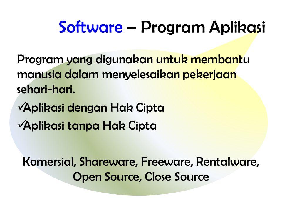 Software – Program Aplikasi Program yang digunakan untuk membantu manusia dalam menyelesaikan pekerjaan sehari-hari.  Aplikasi dengan Hak Cipta  Apl