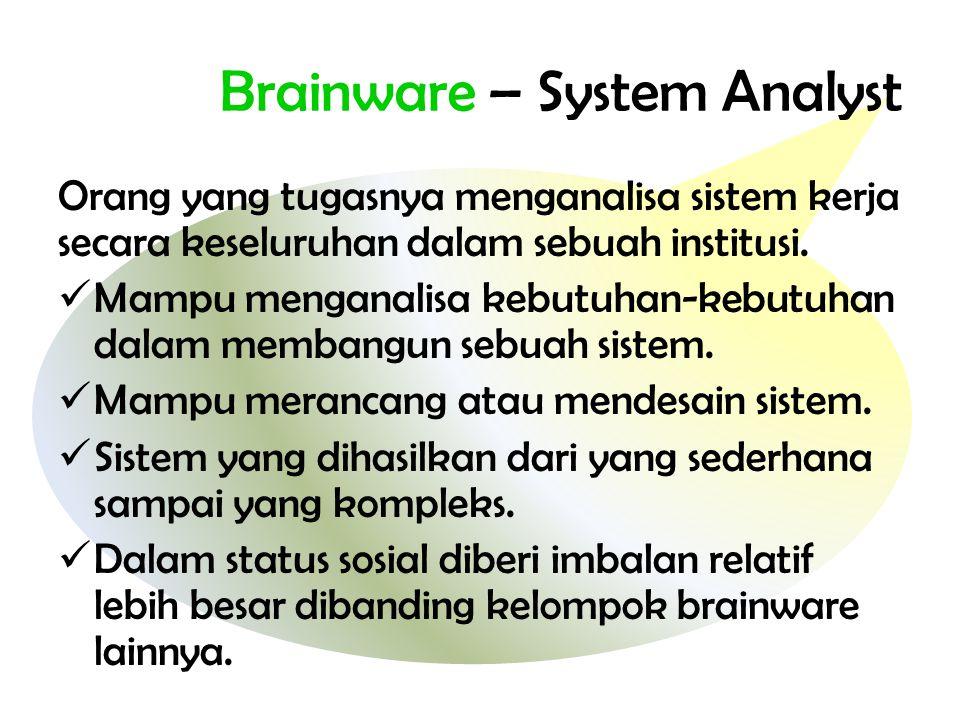 Brainware – System Analyst Orang yang tugasnya menganalisa sistem kerja secara keseluruhan dalam sebuah institusi.  Mampu menganalisa kebutuhan-kebut