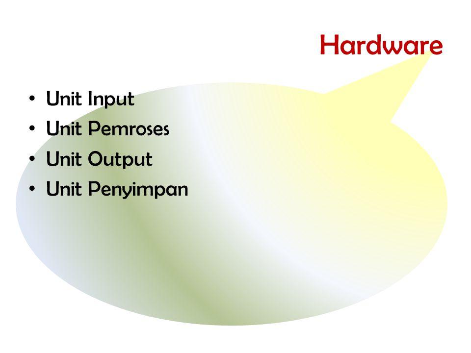 Hardware • Unit Input • Unit Pemroses • Unit Output • Unit Penyimpan