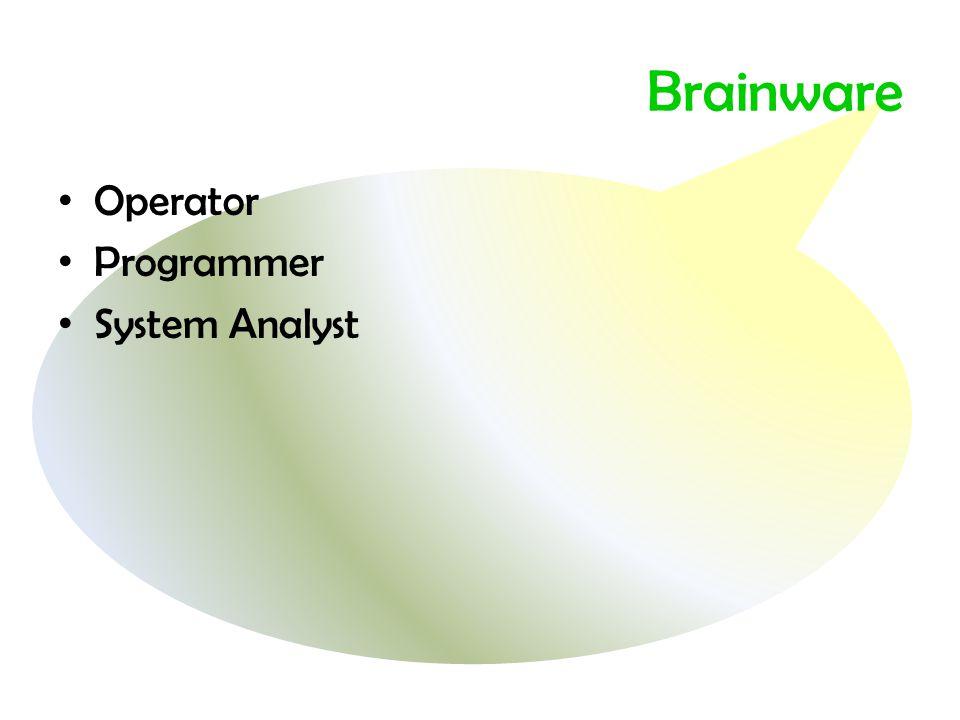 Brainware • Operator • Programmer • System Analyst