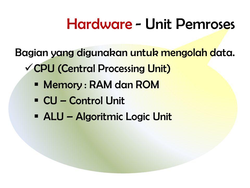 Hardware - Unit Pemroses Bagian yang digunakan untuk mengolah data.  CPU (Central Processing Unit)  Memory : RAM dan ROM  CU – Control Unit  ALU –