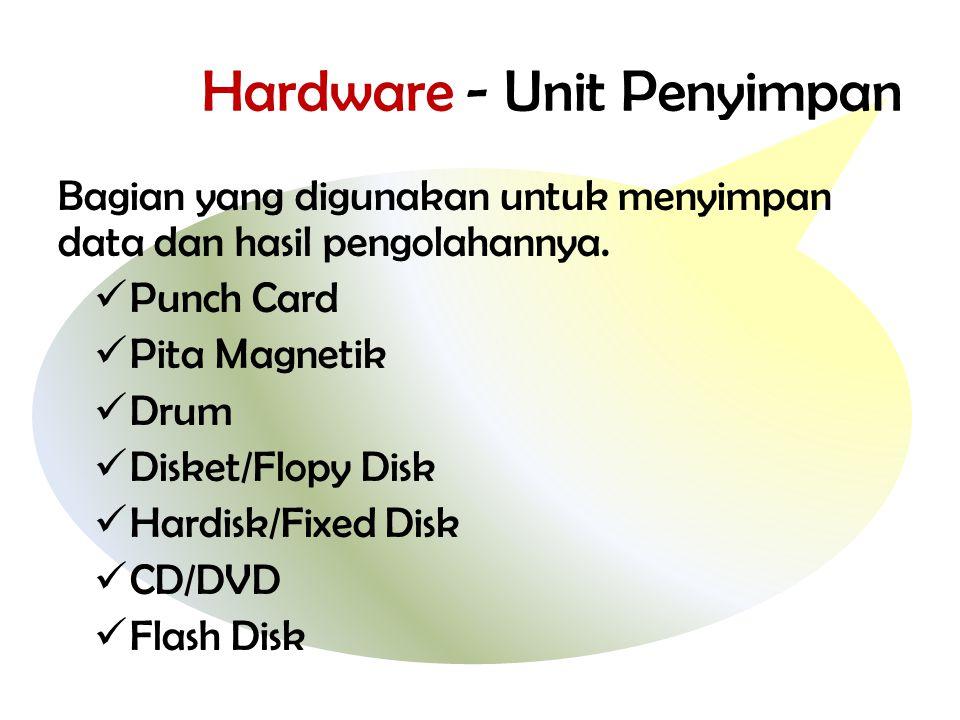 Hardware - Unit Penyimpan Bagian yang digunakan untuk menyimpan data dan hasil pengolahannya.  Punch Card  Pita Magnetik  Drum  Disket/Flopy Disk