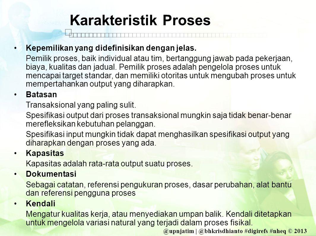 @upnjatim | @bhkrisdhianto #digirefs #nheq © 2013 Karakteristik Proses •Kepemilikan yang didefinisikan dengan jelas.