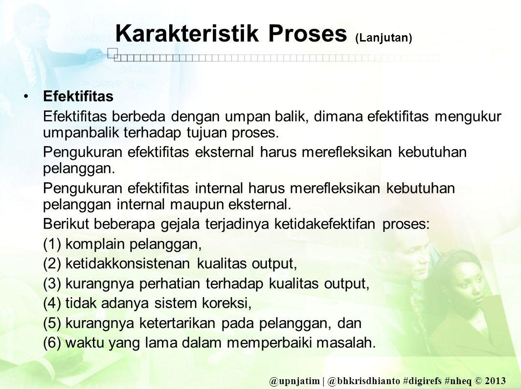 @upnjatim | @bhkrisdhianto #digirefs #nheq © 2013 Karakteristik Proses (Lanjutan) •Efektifitas Efektifitas berbeda dengan umpan balik, dimana efektifitas mengukur umpanbalik terhadap tujuan proses.