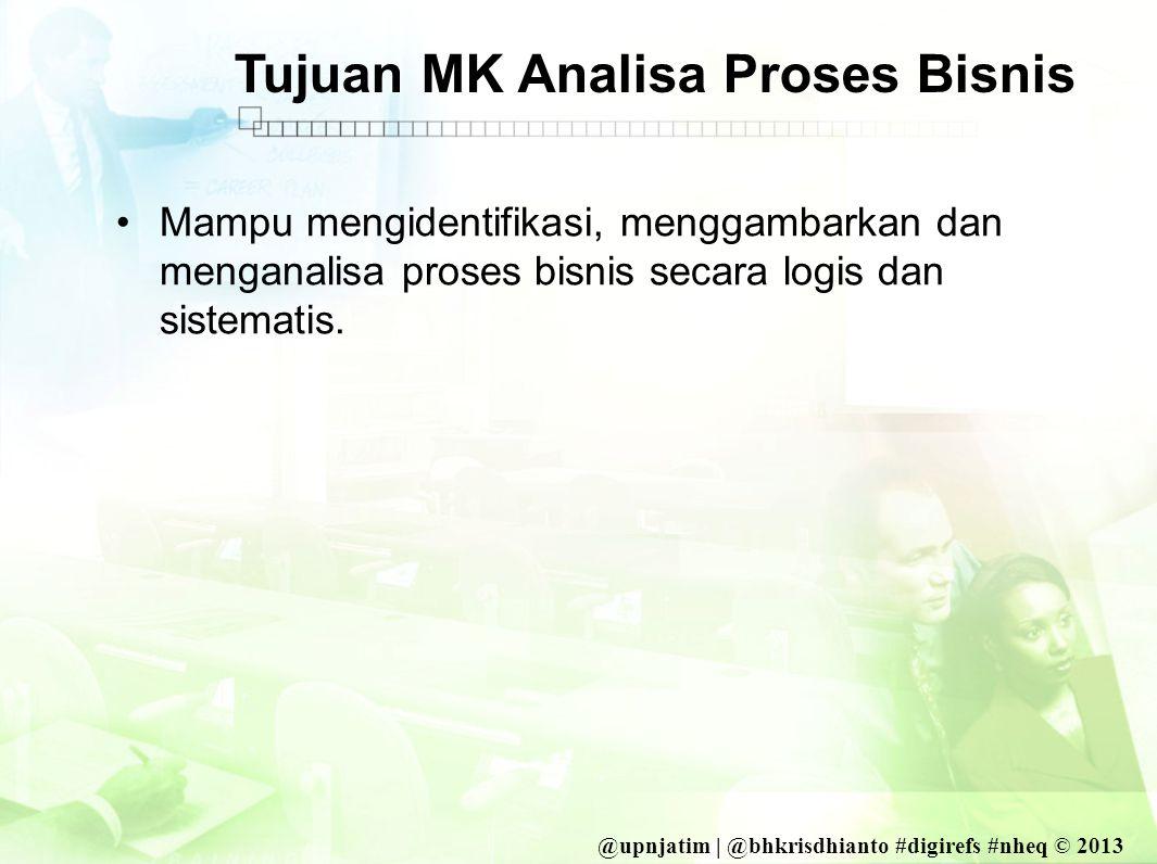 @upnjatim | @bhkrisdhianto #digirefs #nheq © 2013 Tujuan MK Analisa Proses Bisnis •Mampu mengidentifikasi, menggambarkan dan menganalisa proses bisnis secara logis dan sistematis.