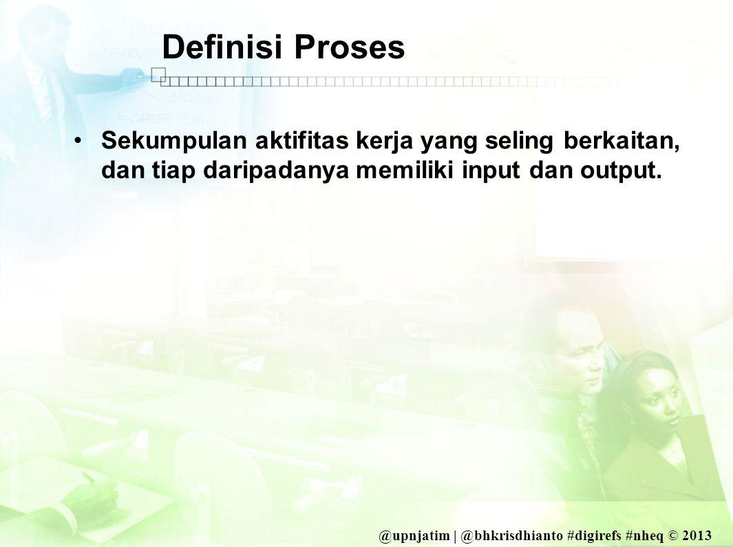 @upnjatim | @bhkrisdhianto #digirefs #nheq © 2013 Definisi Proses •Sekumpulan aktifitas kerja yang seling berkaitan, dan tiap daripadanya memiliki input dan output.