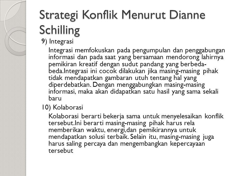 Strategi Konflik Menurut Dianne Schilling 9) Integrasi Integrasi memfokuskan pada pengumpulan dan penggabungan informasi dan pada saat yang bersamaan