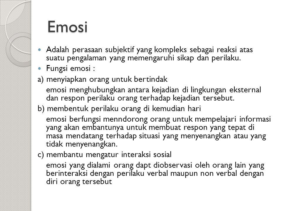 Emosi  Adalah perasaan subjektif yang kompleks sebagai reaksi atas suatu pengalaman yang memengaruhi sikap dan perilaku.  Fungsi emosi : a) menyiapk