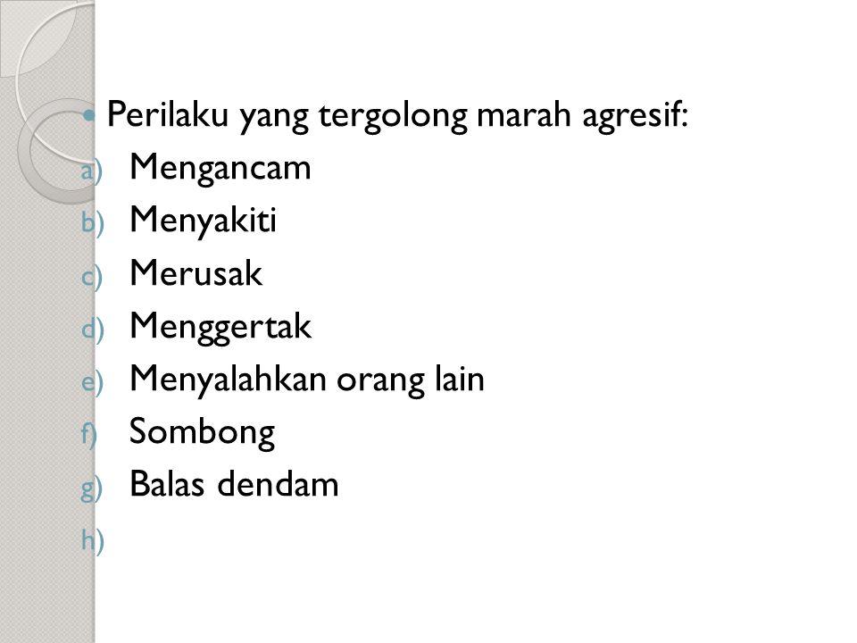  Perilaku yang tergolong marah agresif: a) Mengancam b) Menyakiti c) Merusak d) Menggertak e) Menyalahkan orang lain f) Sombong g) Balas dendam h)