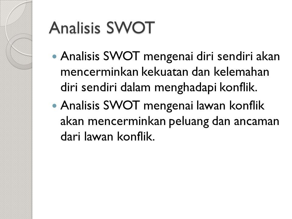 Analisis SWOT  Analisis SWOT mengenai diri sendiri akan mencerminkan kekuatan dan kelemahan diri sendiri dalam menghadapi konflik.  Analisis SWOT me