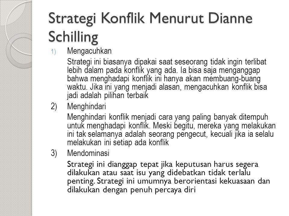 Strategi Konflik Menurut Dianne Schilling 1) Mengacuhkan Strategi ini biasanya dipakai saat seseorang tidak ingin terlibat lebih dalam pada konflik ya