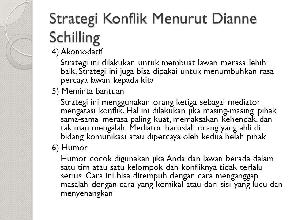 Strategi Konflik Menurut Dianne Schilling 4) Akomodatif Strategi ini dilakukan untuk membuat lawan merasa lebih baik. Strategi ini juga bisa dipakai u