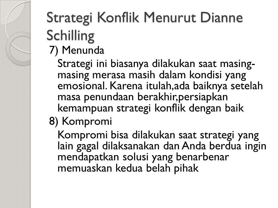 Strategi Konflik Menurut Dianne Schilling 7) Menunda Strategi ini biasanya dilakukan saat masing- masing merasa masih dalam kondisi yang emosional. Ka