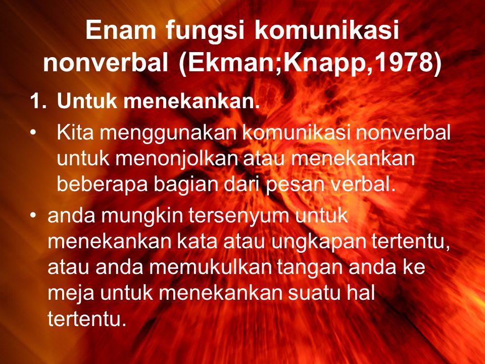 Enam fungsi komunikasi nonverbal (Ekman;Knapp,1978) 1.Untuk menekankan.